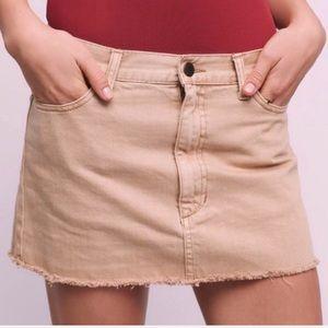 FREE PEOPLE Raw Hem Tan Denim Jean Mini Skirt 6